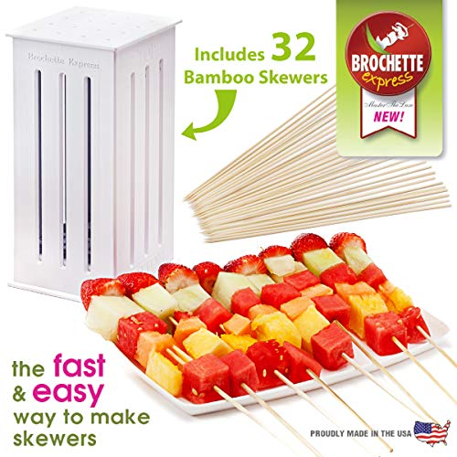Brochette Express Kebab Kitchen Tool | 32 Bamboo Barbecue Skewers for Making Kabobs | Made in the USA