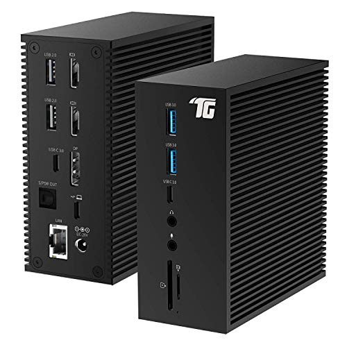 2021 Newest USB C Docking Station, Tiergrade Triple Display 17-in-1 Dock for Windows/MacOS Laptops (2X 4K HDMI, 1x DisplayPort, 6 USB Ports, LAN, Optical Out, SD/TF Card Slot, 60W Charging)