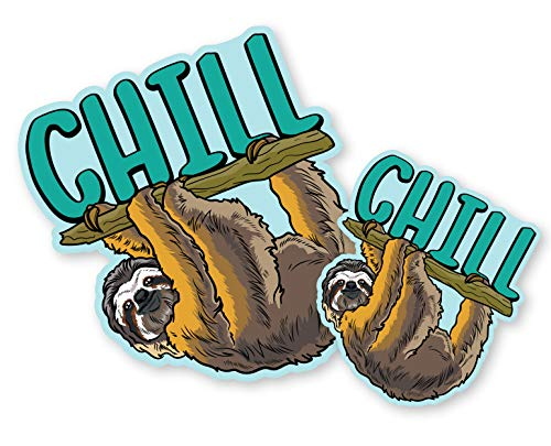 Chill Sloth Decal Bumper Sticker for Cars, Cups, Tumbler, Laptops, Coolers (Two Pack X2) (5'x4' and 3'x2.5')