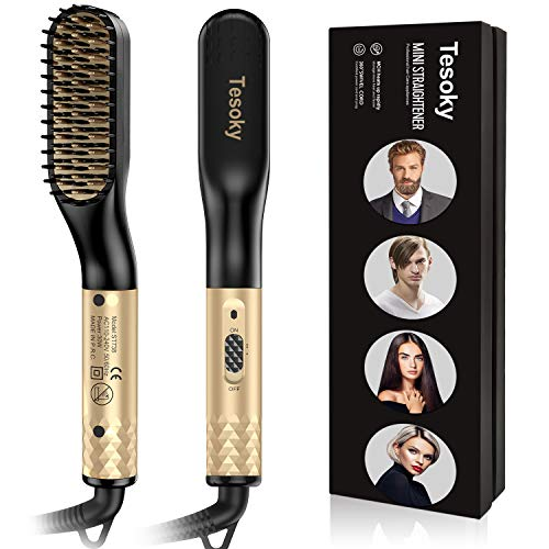 Beard Straightener, Tesoky Beard Straightening For Men and Hair Straightening Brush Comb For Women Fast Heated Electric Hot Hair Brush Multifunctional Hair Styler Shaping Tools (Gold)