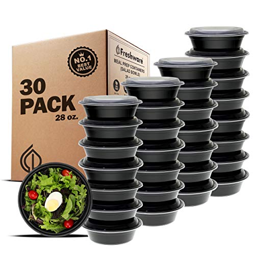 Freshware Meal Prep Containers [30 Pack] Bowls with Lids, Food Storage Bento Box | BPA-Free | Stackable | Lunch Boxes, Microwave/Dishwasher/Freezer Safe, Portion Control, 21 day fix (28 oz)