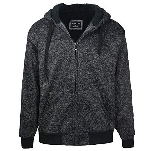 LeeHanTon Camo Sherpa Lined Hoodie Mens Zip Up Heavyweight Casual Winter Sweatshirts (Charcoal, XX-Large)
