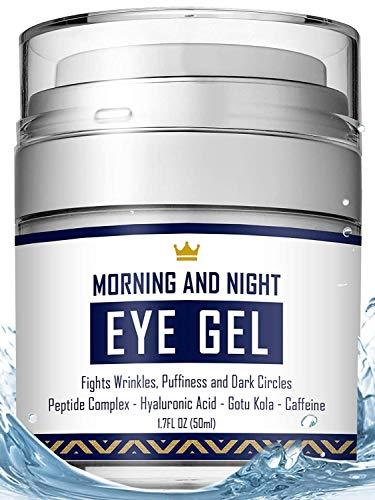 Eye Cream - Dark Circles & Under Eye Bags Treatment - Reduce Puffiness, Wrinkles - Effective Anti-Aging Eye Gel with Hyaluronic Acid, Gotu Kola Extract and Caffeine - Refreshing Serum - Citrus