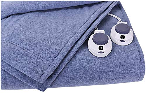SoftHeat by Perfect Fit | Luxury Fleece Electric Heated Blanket with Safe & Warm Low-Voltage Technology (Twin, Slate Blue)