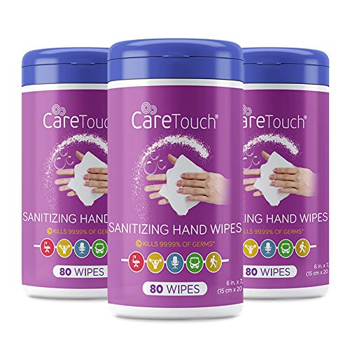 Care Touch Hand Sanitizing Wipes (3 Canisters) | 240 Antiseptic Wipes in Moisture-Lock Canisters - 75% Ethyl Alcohol Saturation | for Home and Office Use