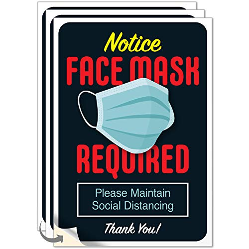 Mask Required Sign, (3 Pack) Social Distancing Sign, 10x7 Inches, 4 Mil Vinyl Decal Stickers Weather Resistant Long Lasting UV Protected, Made in USA by SIGO SIGNS
