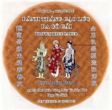 Three Ladies Brand - Brown Rice Paper - Round 22cm - Gluten Free, Non-GMO Spring Roll Wrapper, Wraps (1 Pack)