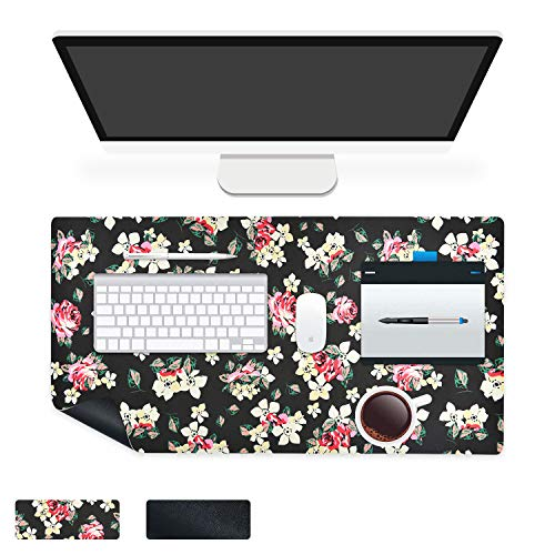 CoolBELL Office Desk Pad Large L Size Computer Gaming Pad Non-Slip PU Leather Ergonomic Mouse Pad Water-Proof Office Dual Side Use Keyboard Pad for Men / Women (Black Peony Floral,23.6''x13.7'')