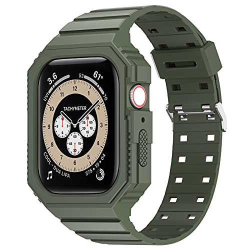 KRISVI Band Compatible with Apple Watch Band 42mm 44mm, TPU Rugged Sports Band with Protection Case for Men Women, iWatch Bands Replacement Wristband for iWatch Series 6 5 4 SE (Army Green-42/44)