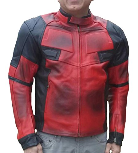SRHides Men's Motorcycle Deadpool Real Leather Jacket Cow Red XX-Large