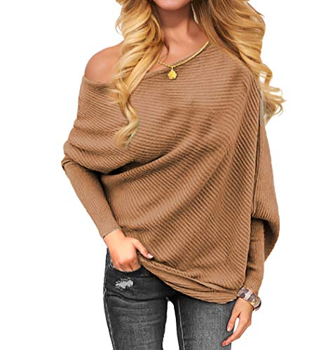 OmicGot Womens Off The Shoulder Pullover Sweater Long Sleeve Oversized Knit Jumper Khaki XL-2