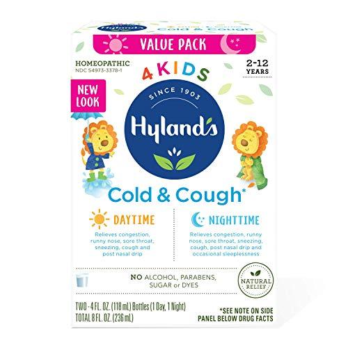 Kids Cold Medicine for Ages 2+, Hylands 4 Kids Cold 'n Cough, Day and Night Value Pack, Syrup Cough Medicine for Kids, Nasal Decongestant, Allergy Relief, 4 Fl Oz Each