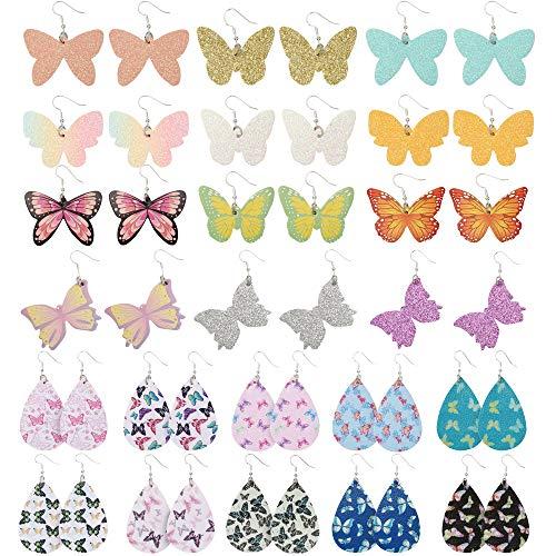 Sntieecr 22 Pairs Butterfly Earrings for Women, Butterfly Drop Leather Earrings Lightweight Butterfly Glitter Dangle Earrings Fashion Jewelry Set