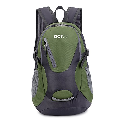 OCT17 Lightweight Small Backpack Water Resistant Durable Travel Hiking Camping Outdoor Daypack Waterproof For Men Women - Army Green