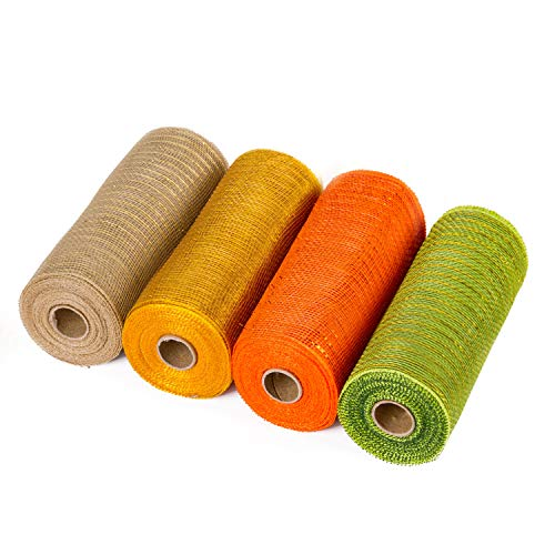 LaRibbons Deco Poly Mesh Ribbon - 6 inch x 30 feet Each Roll - Metallic Foil Orange/Gold/Cream/Green Set for Wreaths, Swags and Decorating - 4 Pack