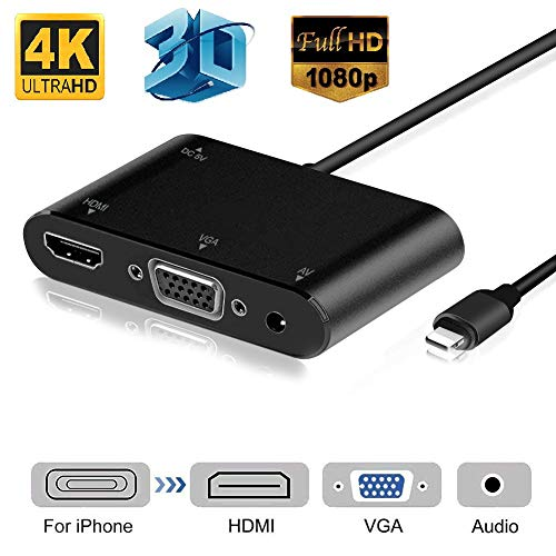 HDMI VGA AV Adapter Converter, 2020 Latest Version 4 in 1 Plug and Play Digtal AV Adapter Compatible for iPhone X / 8 / 8Plus/7/7Plus/6/6s/6s Plus/5/5s iPad iPod to Projector HDTV