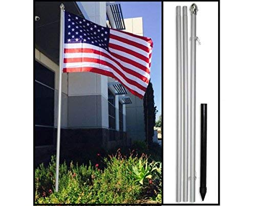 Flags Importer 10ft w/Ground Spike Outdoor Pole, 10 feet, Silver