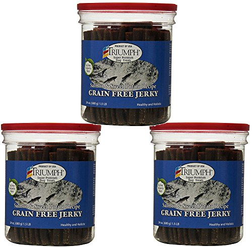 Triumph 3 Pack Of Salmon and Sweet Potato Jerky, 24 Ounces Per Pack