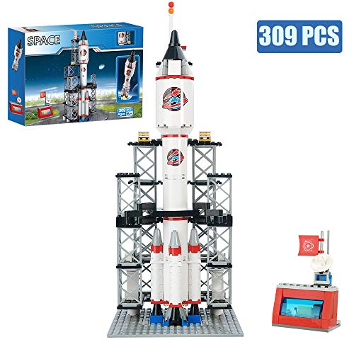 BRICK STORY Spaceship Building Set City Space Rocket Ship Toys with Launch Control Center & Mini Astronaut (309PCS)