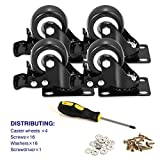 BOSGEOT 2' Caster Wheels, Heavy Duty Casters with Brake Set of 4, Locking Casters with 360 Degree No Noise Polyurethane (PU) Wheels, Swivel Plate Castors Pack of 4