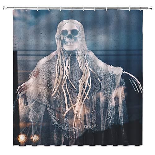 Death Skeleton Shower Curtain Halloween Decor Zombie with Shabby Gauze Straw Hair Spooky Roaming at Dark Doom Night Horror Scary Scene, White Gray-Blue Fabric Hooks Included 70x70 Inch
