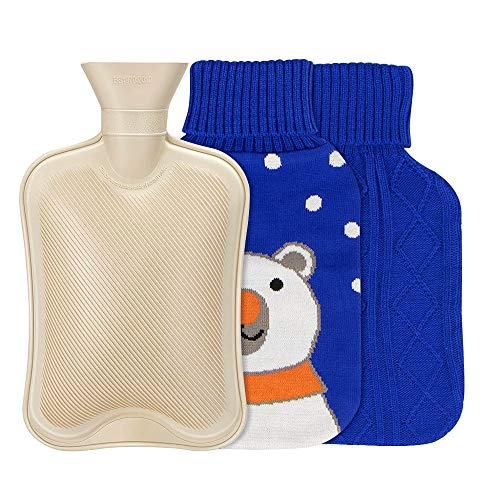 Hot Water Bottle with Knit Cover - Natural Rubber Hot Water Bag BPA Free Durable with Two Replaceable Knit Cover Great for Pain Relief Keep Warm Hot and Cold Therapy(2 Liter)