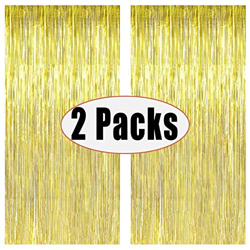 2 Packs 3ft x 8.3ft Gold Metallic Tinsel Foil Fringe Curtains Photo Booth Props for Birthday Wedding Engagement Bridal Shower Baby Shower Bachelorette Holiday Celebration Party Decorations