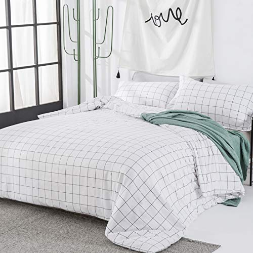 Duvet Cover 3 Piece Set King Size, Ultra Soft Breathable Washed Microfiber Comforter Cover with Zipper Closure & Corner Ties, Luxury Plaid Pattern Printed Bedding Quilt Cover, White with Black Grid