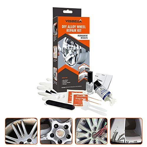 DIY Alloy Wheel Repair Kit, Alloy Wheel Repair Adhesive Kit Fast Repair General Purpose Silver Paint Fix Tool for Car Auto Rim Dent Scratch