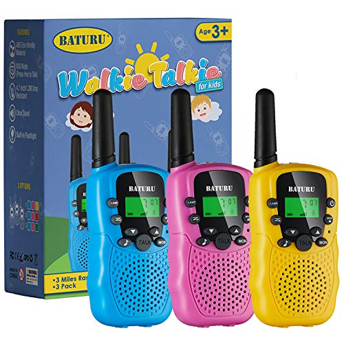Kids Toys, Walkie Talkies for Kids 22 Channels 2 Way Radio Toy 3 KM Long Range with Backlit LCD Flashlight, Best Gifts Toys for Boys and Girls to Outside Adventures, Camping, Hiking(3 Pack)