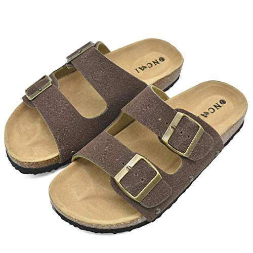 Womens Flat Slide Sandals with Arch Support 2 Strap Adjustable Buckle Slip on Slides Shoes Non Slip Rubber Sole Brown