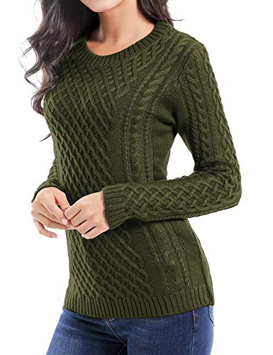 v28 Women Crew Neck Knit Stretchable Elasticity Long Sleeve Sweater Jumper Pullover (2XL, ArmyGreen)