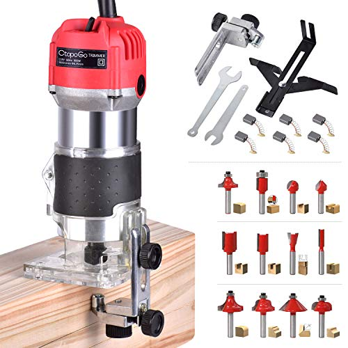 CtopoGo Compact Wood Palm Router Tool Hand Trimmer WoodWorking Joiner Cutting Palmming Tool 30000R/MIN 800W 110V with 12PCS 1/4' Router Bits