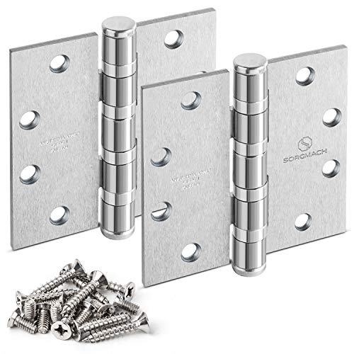Heavy Duty Ball Bearing Hinge Stainless Steel Hinges, 3Pack 4.5'Door Hinge with Commercial Grade ANSI/BHMA A156.1 Grade 1.