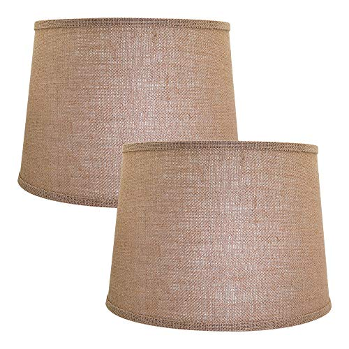 Double Medium Lamp Shades Set of 2, Alucset Drum Fabric Burlap Lampshades for Table Lamp and Floor Light, 10x12x8 inch, Natural Linen Hand Crafted, Spider (Light Brown, 2 PCS Pack)