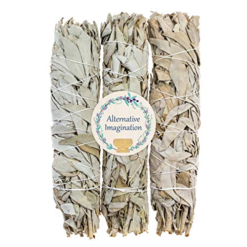 Alternative Imagination Premium California White Sage Smudge Sticks (9 Inch), 3 Pack, Packaged in USA