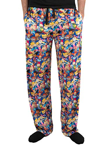 Nickelodeon Pajamas Characters All Over Graphic Men's Sleep Lounge Pants (X-Large 40-42) Blue