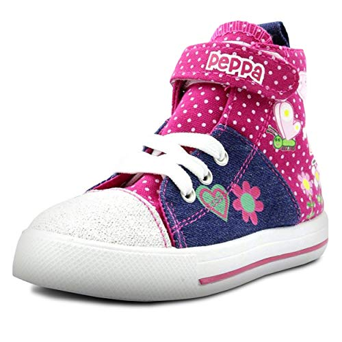 Peppa Pig Denim And Pink Toddler High Top Sneakers Size 9, Multicolor