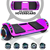 Beston Sports Newest Generation Electric Hoverboard Dual Motors Two Wheels Hoover Board Smart self Balancing Scooter with Built in Speaker LED Lights for Adults Kids Gift (Chrome Purple)