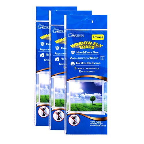 Garsum Fly Clear Window Fly Traps Bug Fly Killer Window Decal Non-Toxic,4 Piece per Pack Total 12 Pices