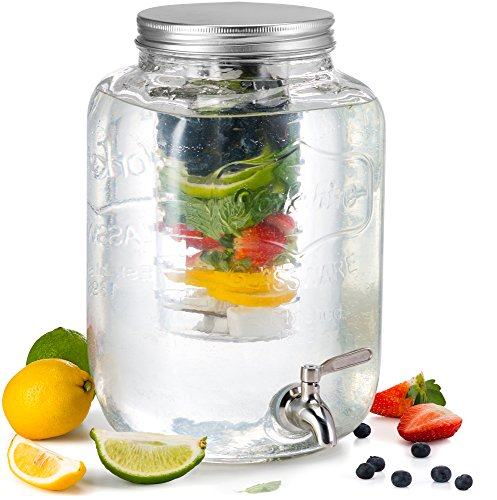 Glass Drink Dispenser, by Kook, with Fruit & Ice Infuser and Stainless Steel Spigot, Aluminum Lid, 2 Gallon