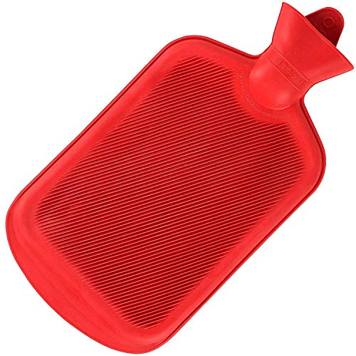 SteadMax Hot Water Bottle, Natural Rubber -BPA Free- Durable Hot Water Bag for Hot Compress and Heat Therapy, Red Color (1 Pack)