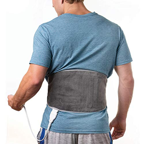 Pure Enrichment PureRelief Lumbar & Abdominal Heating Pad - Fast Heating Technology with 4 Heat Settings, Adjustable Belt, Hot/Cold Gel Pack, and Storage Bag - Ideal for Back Pain and Abdominal Cramps