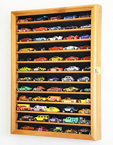 Hot Wheels Matchbox 1/64 Scale Diecast Model Display Case Cabinet Wall Rack w/98% UV Protection -Oak