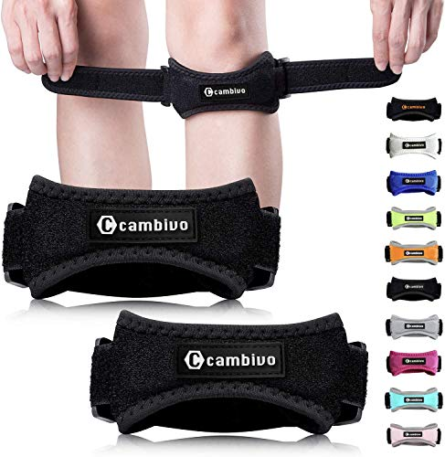 CAMBIVO Patella Knee Strap, 2 Pack Knee Brace, Adjustable Patellar Tendon Support Band for Running, Hiking, Volleyball, Jumpers Knee, Tendonitis, Arthritis and Injury Recovery (Black)