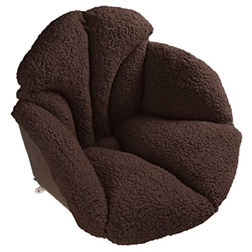 Hughapy Chair Cushions Desk Seat Cushion Warm Comfort Sherpa Wool Seat Cushion Pad for Support Waist Backrest, Winter Plush Cushion for Home Office Chair, Car Seat (19Wx16Lx15H, Coffee)