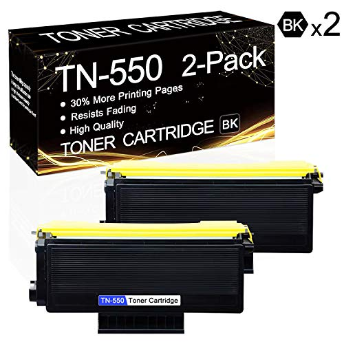 2 Pack TN-550 Black TN550 Compatible Toner Cartridge Replacement for Brother HL-5240 HL-5250DN HL-5250DNT HL-5270DN MFC-8370 MFC-8460N MFC-8670DN DCP-8060 DCP-8065DN Printers.