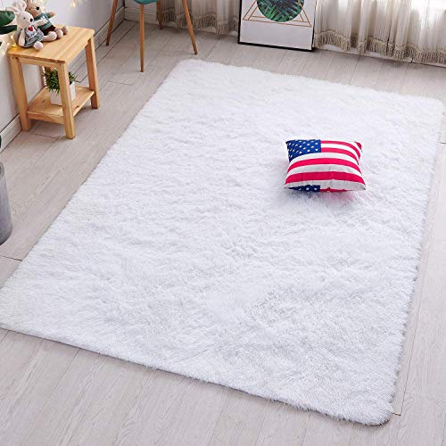 PAGISOFE Soft Comfy White Area Rugs for Bedroom Living Room Fluffy Shag Fur Carpet for Kids Nursery Plush Shaggy Rug Fuzzy Decorative Floor Rugs Contemporary Luxury Large Accent Rug 4' x 5.3',(White)