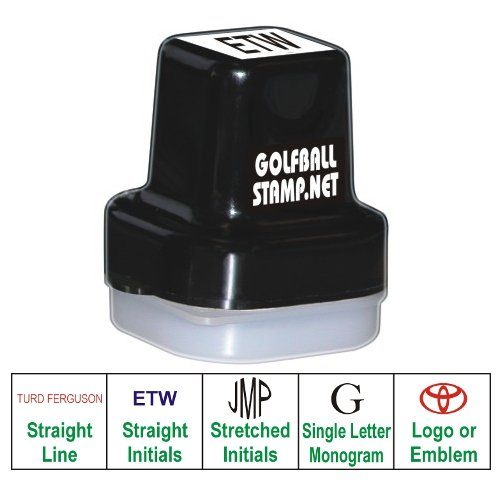 Golf Ball Stamp Personalized Black Ink, Straight Line