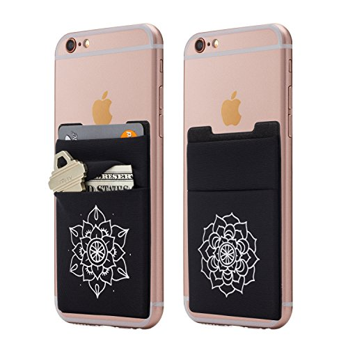 (Two) Stretchy Mandala Cell Phone Stick on Wallet Card Holder Phone Pocket for iPhone, Android and All Smartphones. (Floral)